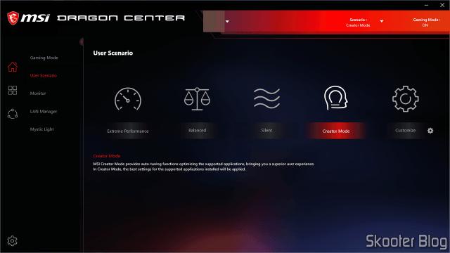 MSI Dragon Center - User Scenario.