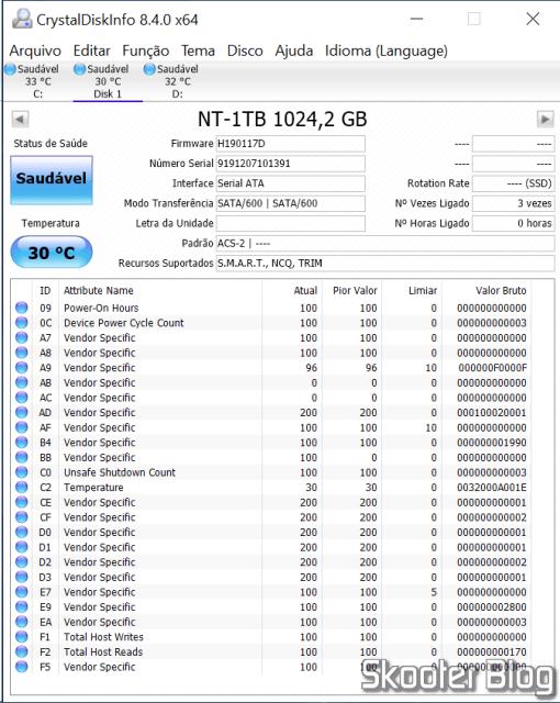 SSD m.2 2242 KingSpec 1TB NGFF no CrystalDiskInfo.