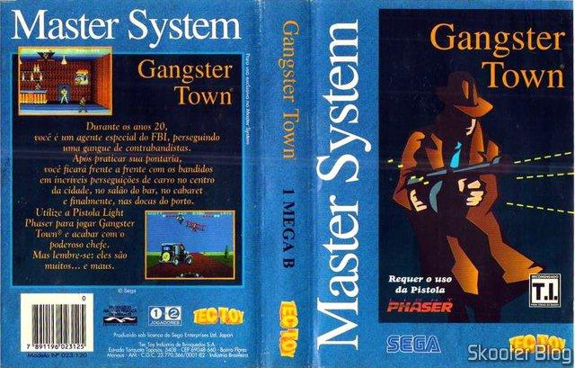 Capa da Tec Toy para relançamento do Gangster Town – Master System.