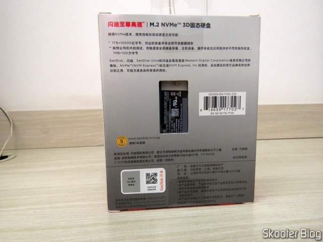 SSD Sandisk Ultra m.2 NVMe 3D 1TB 2280, on its packaging.