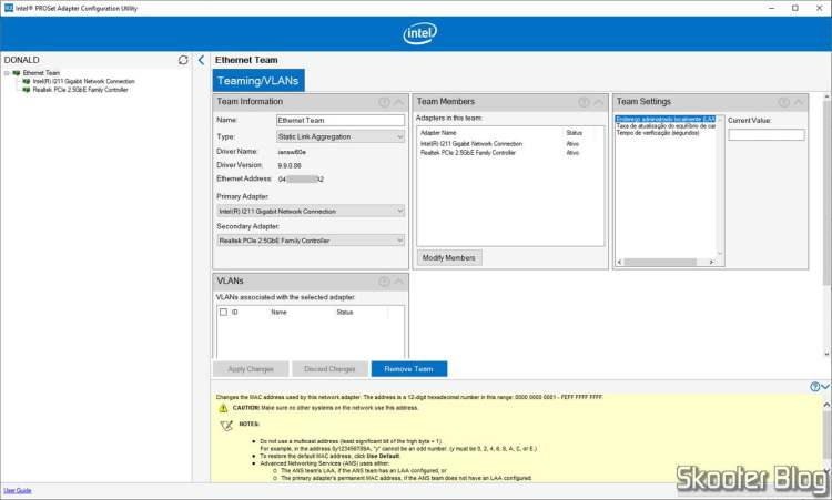 Intel PROSet Adapter Configuration Utility - Teaming.