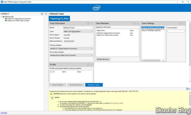 Intel PROSet Adapter Configuration Utility - Teaming.