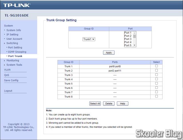 TP-Link TL-SG1016DE Web Interface.
