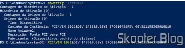 Usando powercfg -lastwake para descobrir quem acordou o PC.