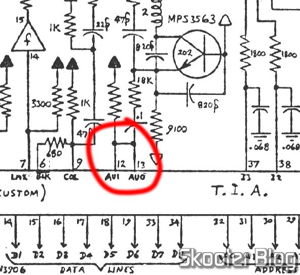 Ponte entre os pinos de áudio do TIA no esquema do Atari 2600.