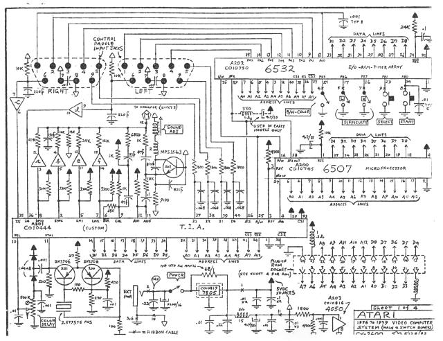 Scheme Atari 2600, note a ponte entre os pinos 12 and 13 do TIA.