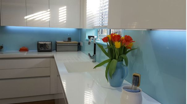 Modern Blue Glass Splashback 2