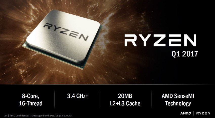 الاعلان بشكل رسمي عن معالج AMD Ryzen و مقارنة ادائه بمعالج Core i7-6900K