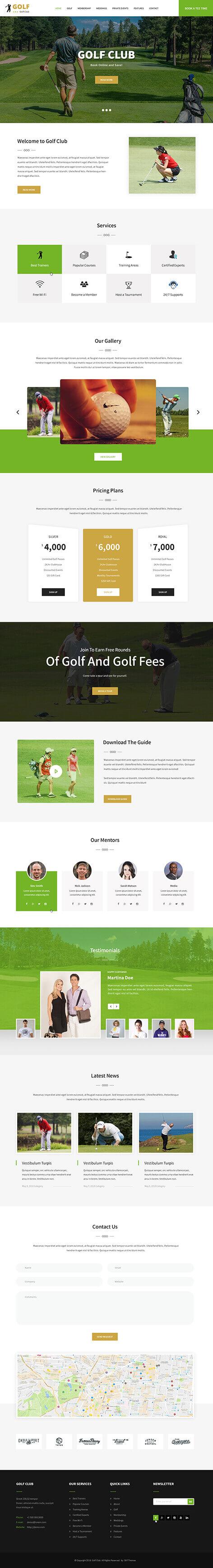 golf tournament WordPress theme