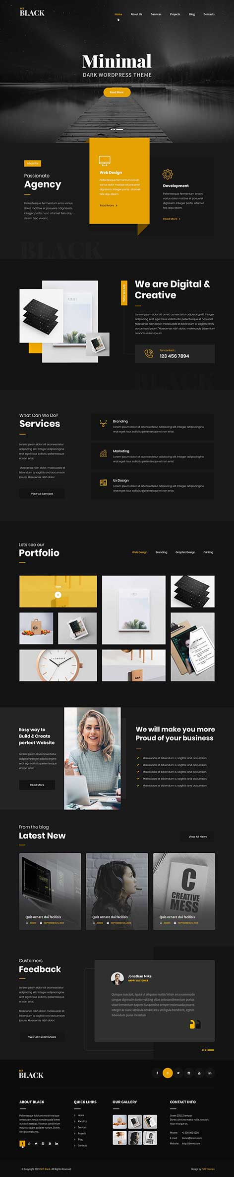 black WordPress theme