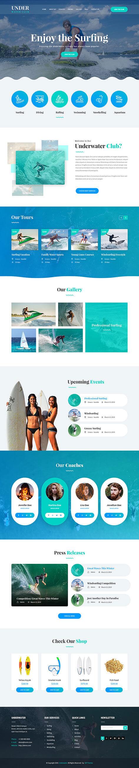 scuba diving WordPress theme
