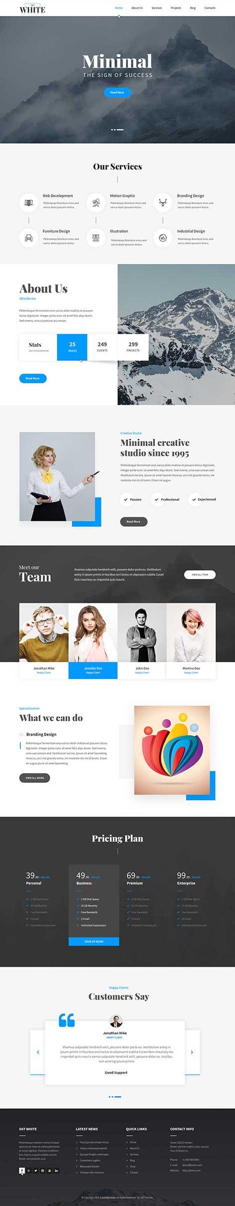 responsive white WordPress theme