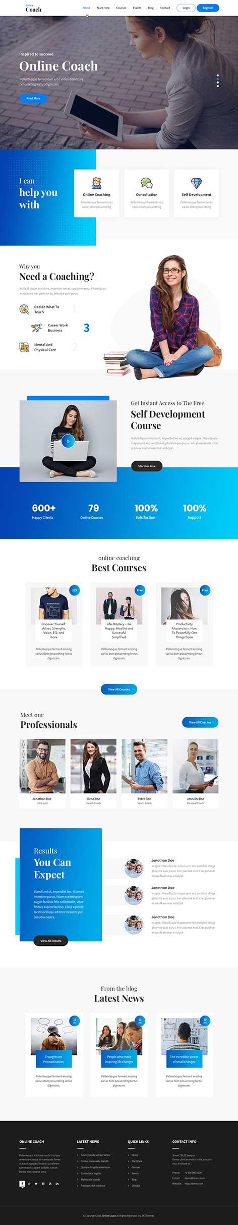 online coach WordPress theme