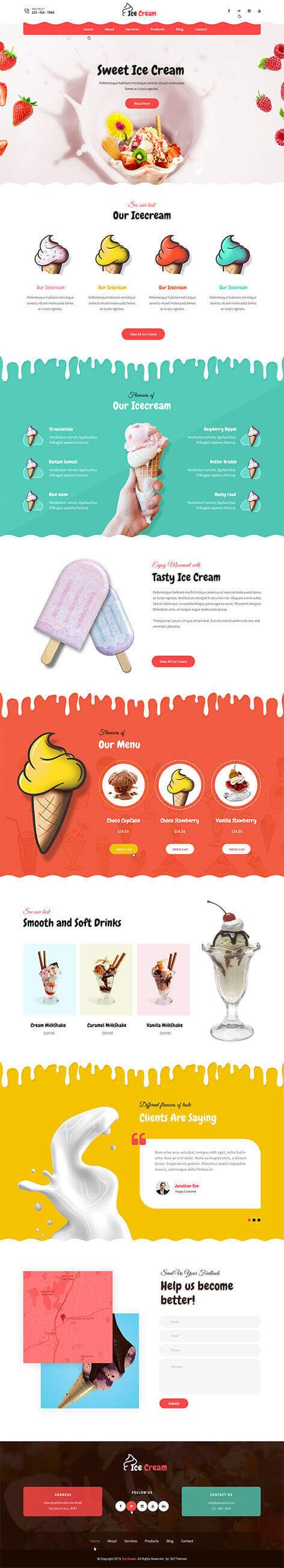 Ice Cream Parlor WordPress Theme