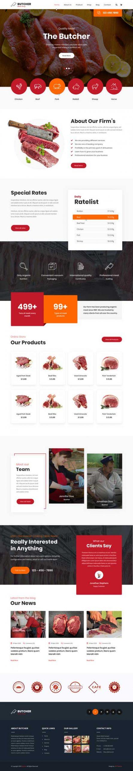 meat shop WordPress theme
