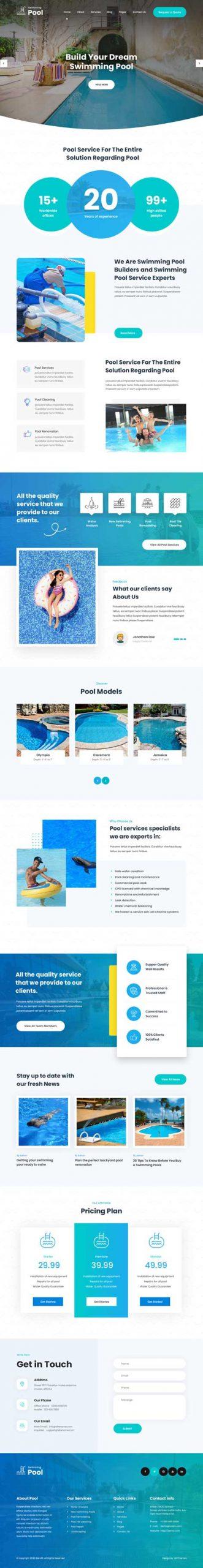 swimming pool cleaning WordPress theme