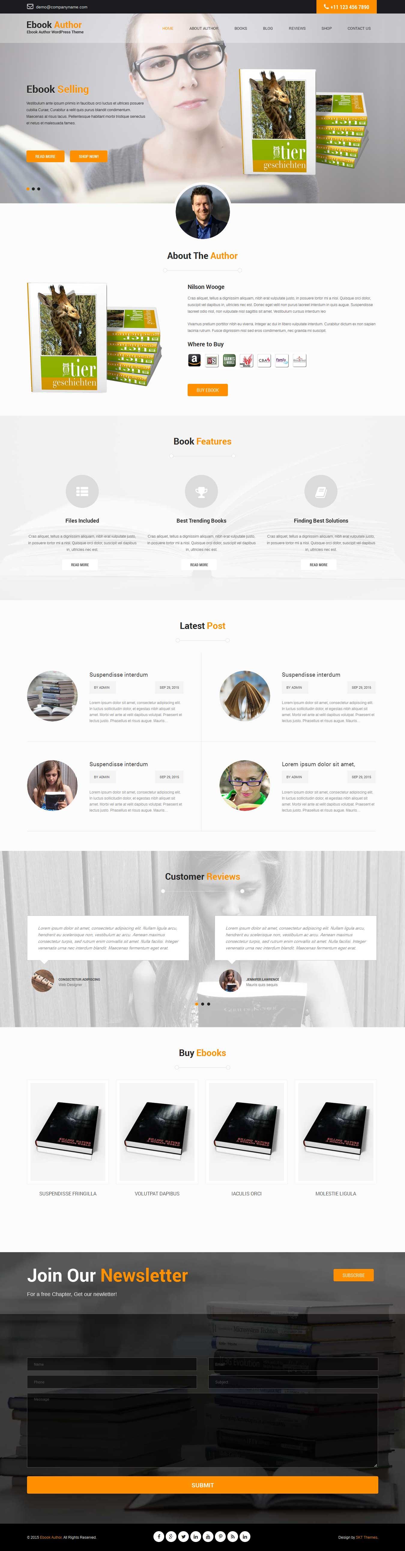 ebook author WordPress theme