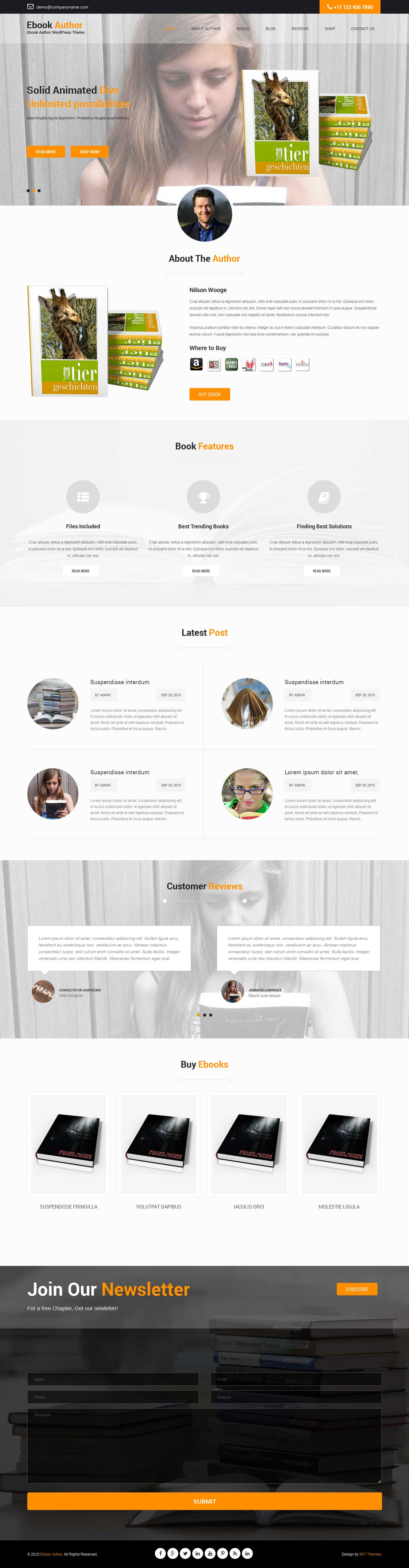 ebook author WordPress theme