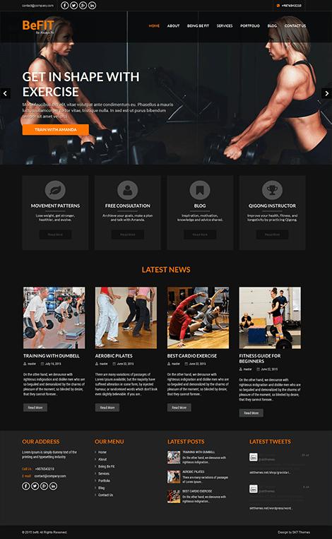 free fitness trainer WordPress theme