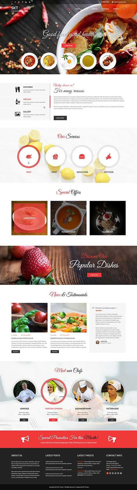 food and recipes WordPress theme