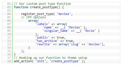 basic code post type