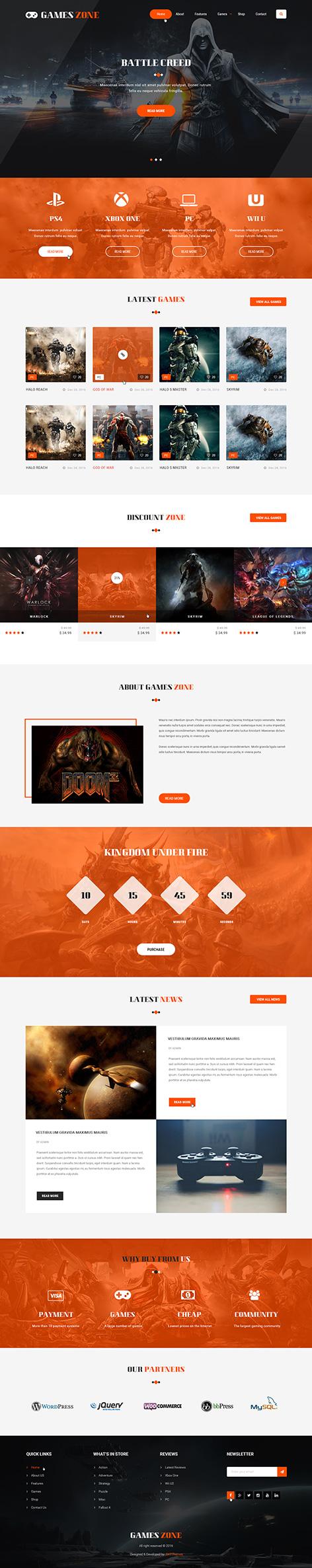 game developer WordPress theme