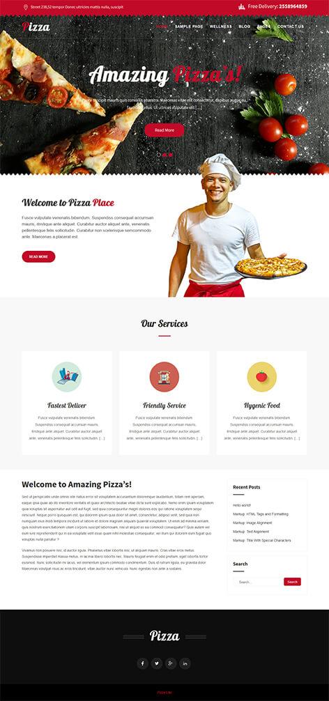 free pizza WordPress theme