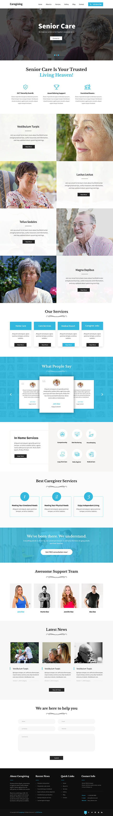 senior care WordPress theme