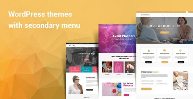 WordPress themes with secondary menu