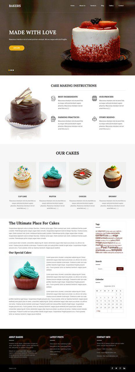 free cake art WordPress theme