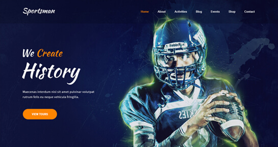 Sportsman athlete WordPress theme