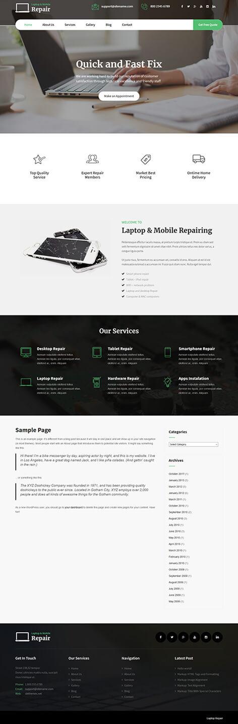 free computer store WordPress theme