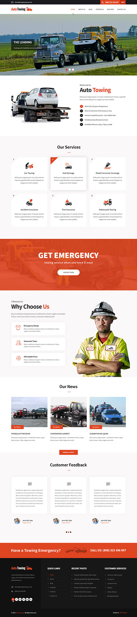 towing WordPress theme