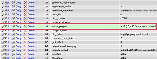 deactivate WordPress plugin phpmyadmin