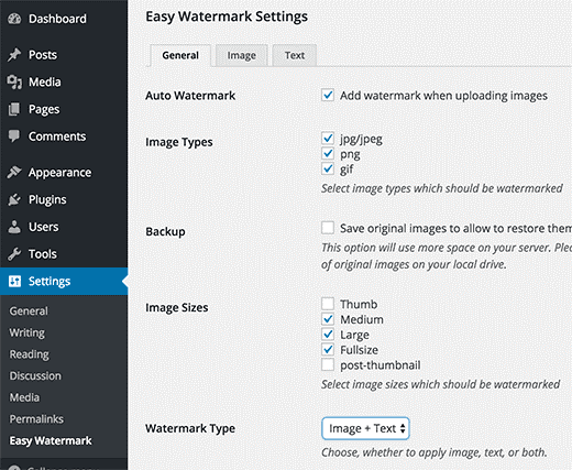 easy watermark settings