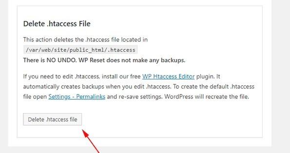 wp reset delete htaccess