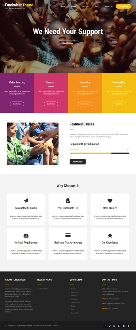 free fundraising WordPress theme