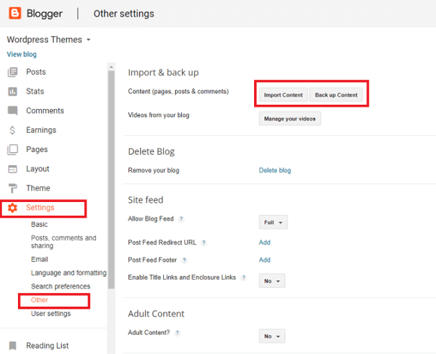 Export Existing Content from Blogger