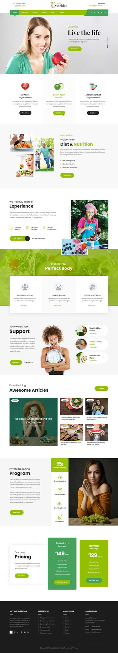 diet nutrition WordPress theme