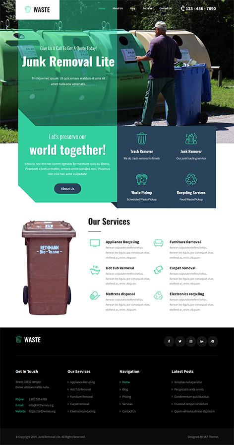 free waste management WordPress theme