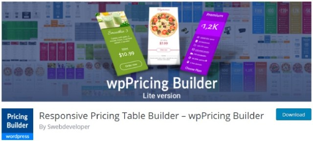 responsive pricing table builder