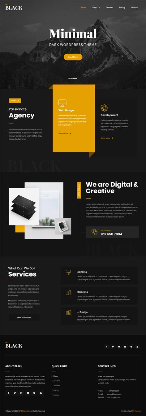 free dark and black WordPress theme