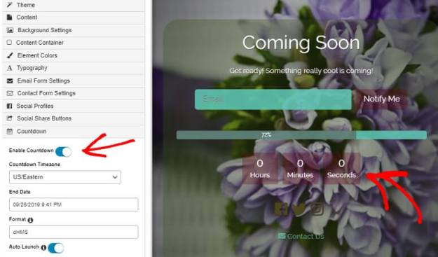 SeedProd Countdown timer