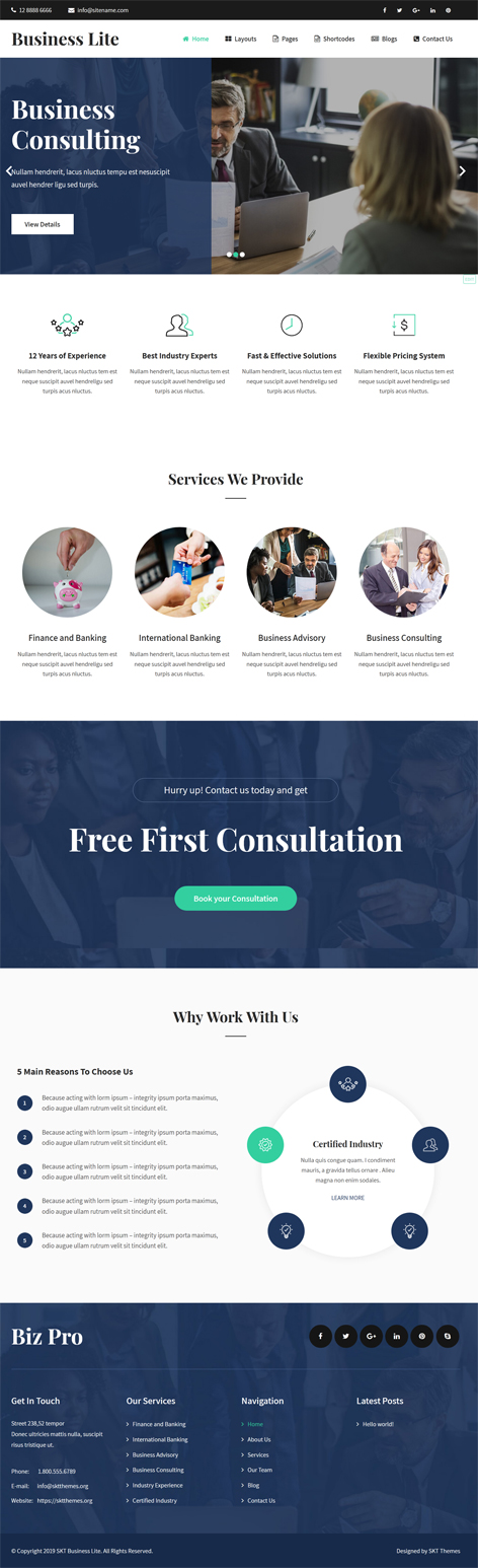 free business company WordPress theme