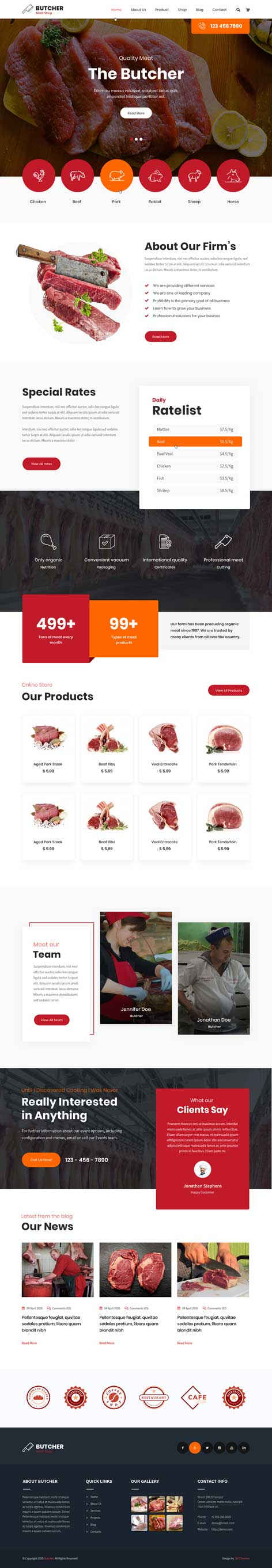 butcher shop WordPress theme