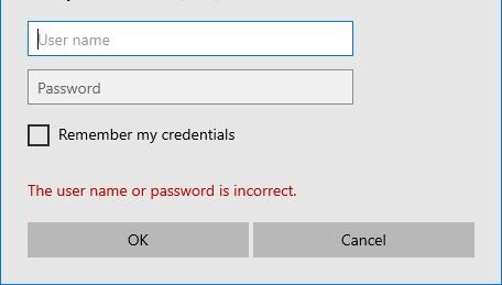incorrect login credentials