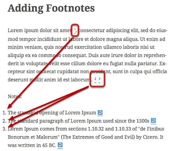 wordpress footnotes