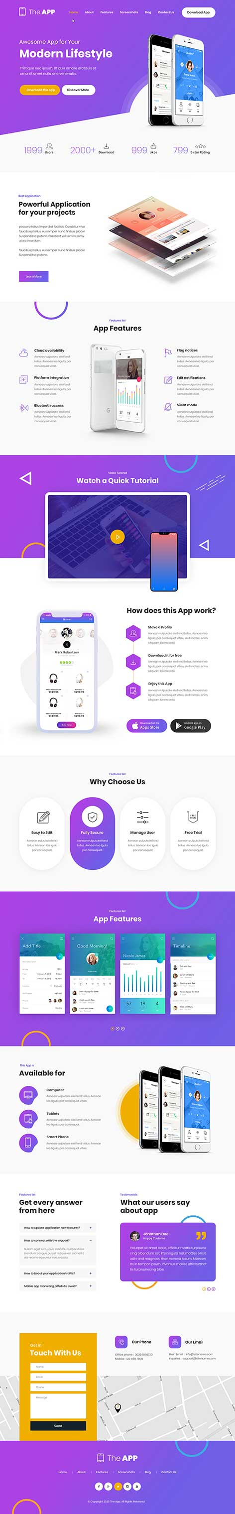 app WordPress theme