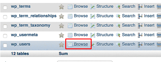 browse users table
