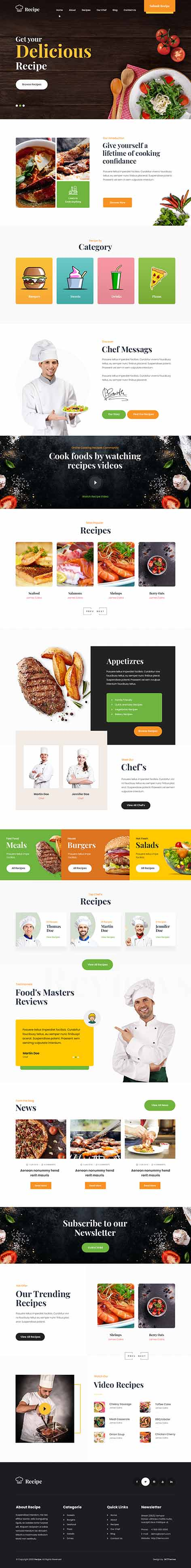recipe WordPress theme